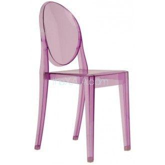 Розовый пластиковый стул GHOST
