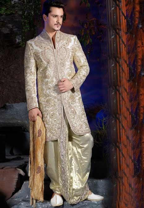 Off White Sherwani, Sherwanis, Embroidered Sherwani, Designer Sherwanis by Utsav Fashion | $515.09