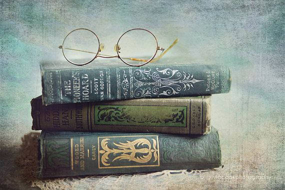 """❥ Still life photography, """"Wooed and Married"""" fine art print, old books,teal books,antique,still life photograph, aqua books,reading glasses"""