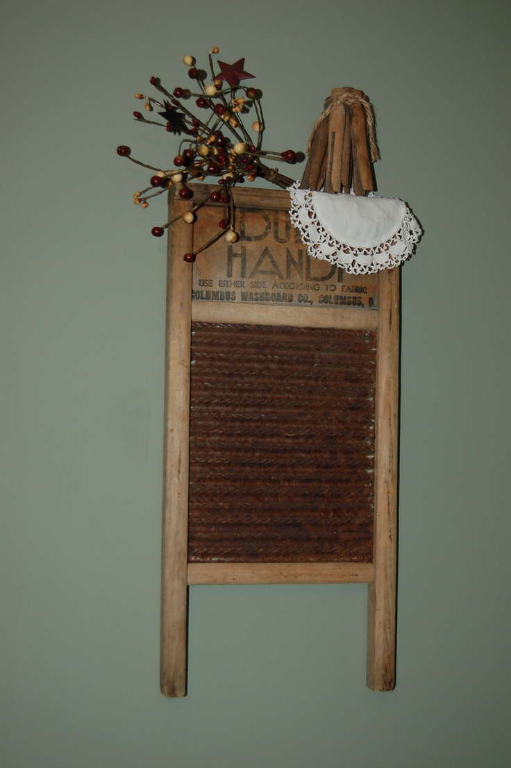Old washboard and clothespins.