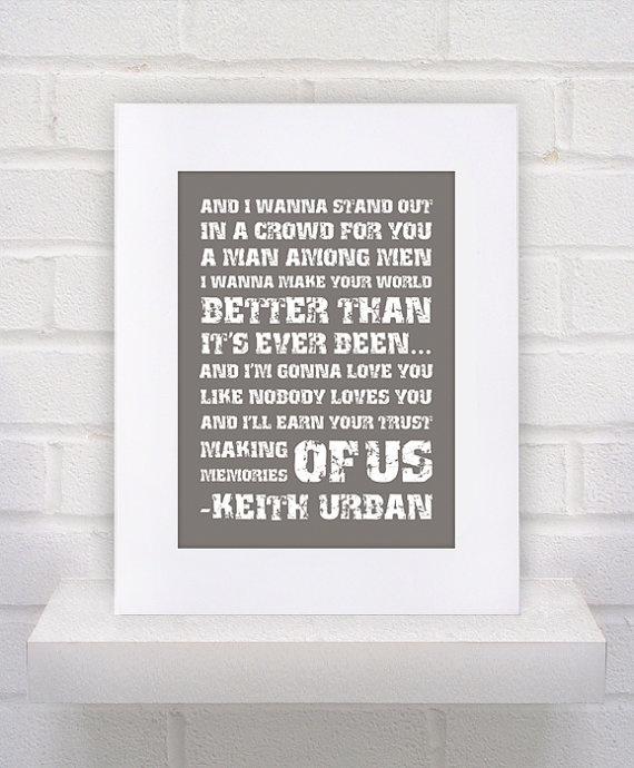 Keith Urban Lyrics  Memories of Us  11x15  poster by KeepItFancy, $10.00