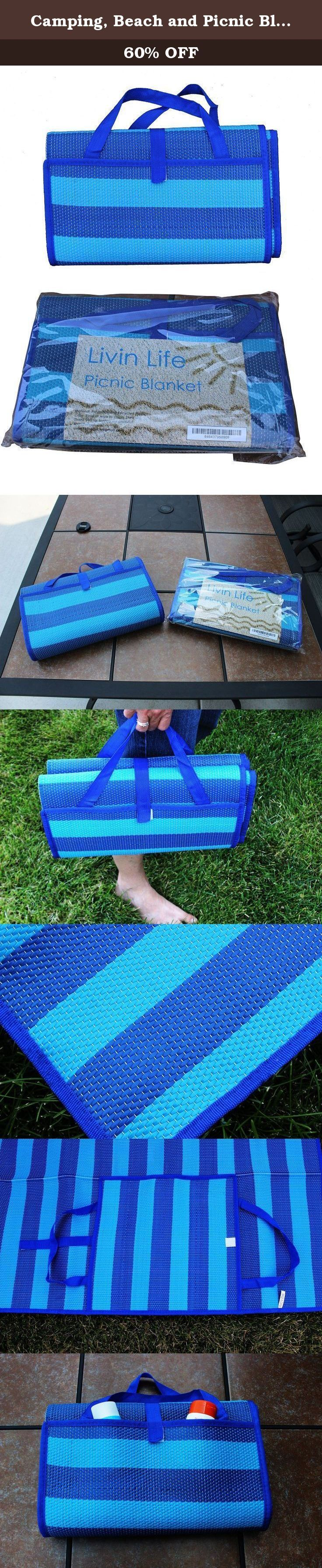 """Camping, Beach and Picnic Blanket By Livin Life Products, Water & Sand Resistant, Folds Compactly, Large Size 60""""x71"""", Durable, Lightweight and Handy Mat to Keep in Each Car, Get One for All Your Outdoor Adventures!. Large Picnic Blanket for Camping and Beach Handy Mat to Keep in the Car - Are there times you need a blanket and don't have one? - Compact and on hand at all times - Great picnic blanket, beach mat, outdoor blanket and camping blanket - Water resistant, clean surface for..."""