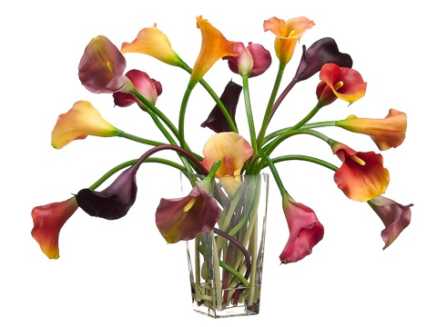 13 best silk flowers in glass vase images on pinterest silk mulit color calla lilies in glass vase silk floral design floral home decor silk flowers mightylinksfo Images