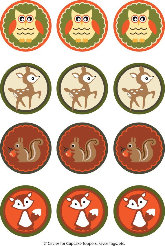 Woodland Forest Friends Creatures Animals Cupcake Topper Wrapper Set Printable Party Package, DIY Digital File. (A)