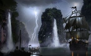 Обои пираты, корабль, лодка, молния, паруса, арт, водопад