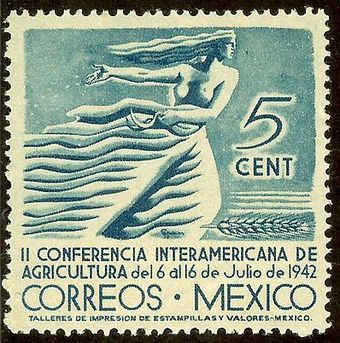 One of a series of Art Deco stamps designed by Mexican artist Francisco Eppens. Mexico issued this .5¢ stamp in 1942, which honoured the Second Inter-American Agricultural Conference and depicts a highly stylized woman sewing wheat