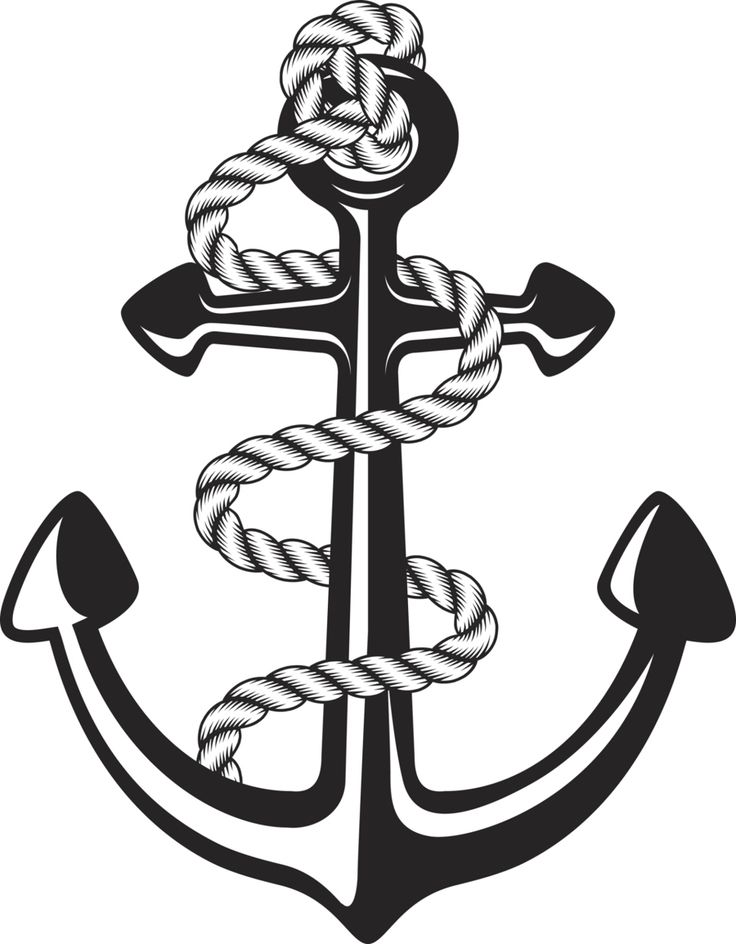 Black and white anchor with rope