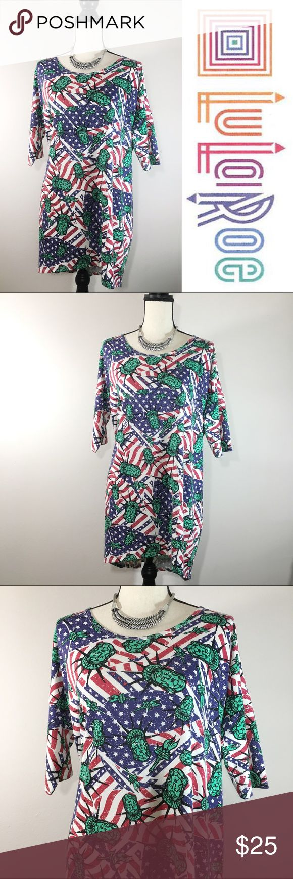 "LuLaRoe Irma Statue of Liberty USA Americana Tunic LuLaRoe Irma Tunic 2017 Americana Lady Liberty USA Flag Stars Stripes EUC. Lularoe Americana collection. Soft & comfortable 'Like New' LuLaRoe Irma tunic long blouse.  * Irma Sizing: Medium (Size 12-14) - Very loose fit comfy design  LuLaRoe's Irma top is a loose, knit ""high-low"" tunic with fitted mid-length sleeves. The extra length in the back makes it a great compliment for leggings. Wear this top and you might never take it off…"