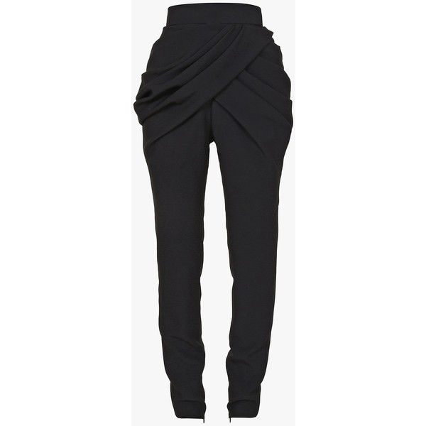 Jeans and Trousers | Women's Clothing | Balmain ($3,350) ❤ liked on Polyvore featuring pants, balmain pants, drapey pants, crepe pants, balmain and draped pants