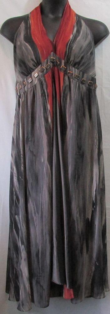 Lane Bryant Pus Size Gray Burnt Orange Halter Style Maxi Dress With Hardware 20 #LaneBryant #Maxi