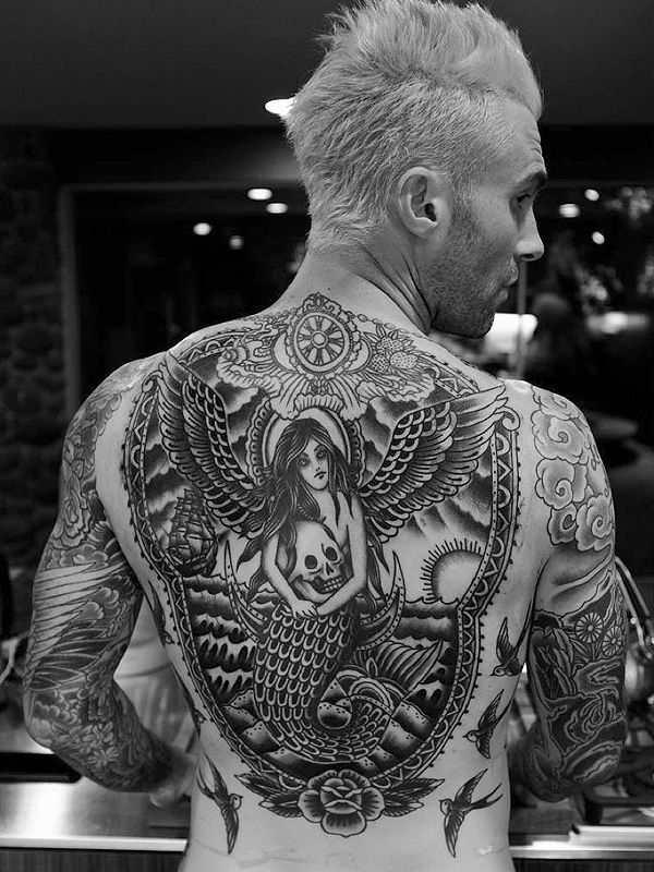 Adam Levine Debuts His Finished Back Tattoo http://stylenews.peoplestylewatch.com/2016/02/23/adam-levine-finished-back-tattoo/