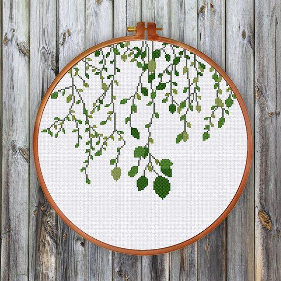 Green Vines cross stitch pattern modern cross by ThuHaDesign