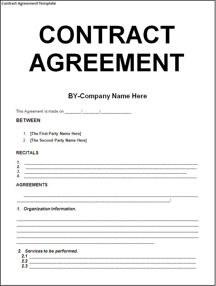 Free Download Blank Contract Agreement Form Sample for Company with Two Parties and Recitals : Thogati
