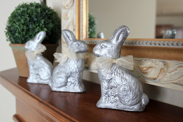 Easter bunnies made out of plaster and candy molds