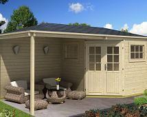 5-Eck Gartenhaus mit Anbau Modell Mosel-28