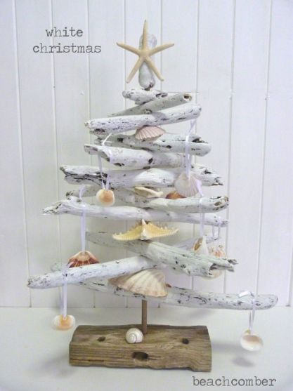 Seashells, white painted driftwood, and homemade tags - credit goes to Beachcomber!