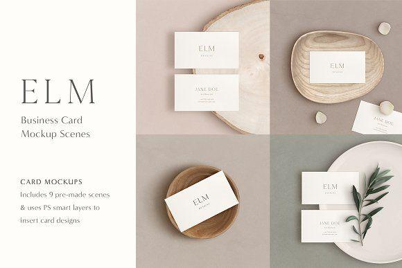 Elm Business Card Mockup Kit Business Card Mock Up Minimalist Business Cards Branding Mockups