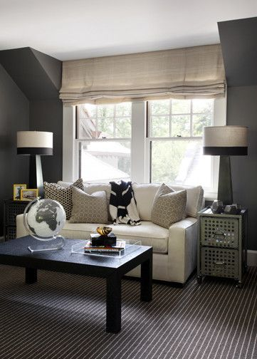 Lamps - Liz Caan Interiors: Boy's room with charcoal gray walls paint color, burlap linen  roman shade, black ...