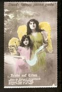 k2. Latvia Germany Merry Christmas Weihnacht Greetings Old tinted Photo postcard - Angel Engel Friede Poem Poetry | For sale on Delcampe