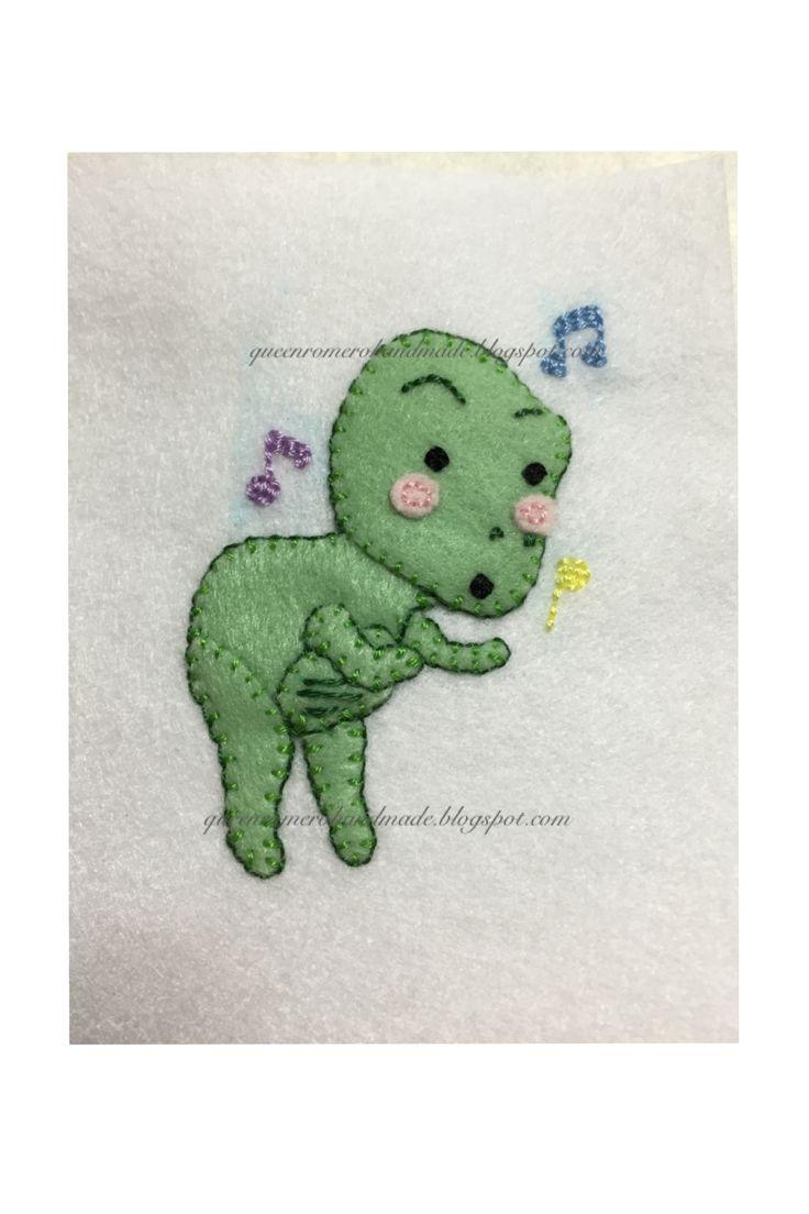 applique patch, dancing frog,