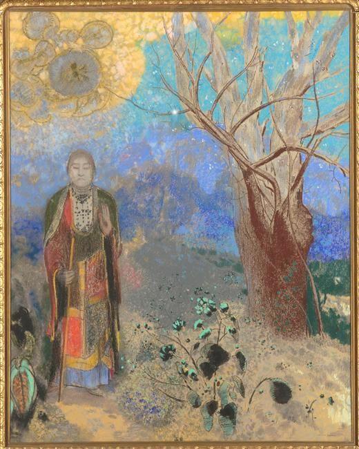 Odilon Redon Le Bouddha, debout, de face, yeux clos, tenant un bâton dans la main
