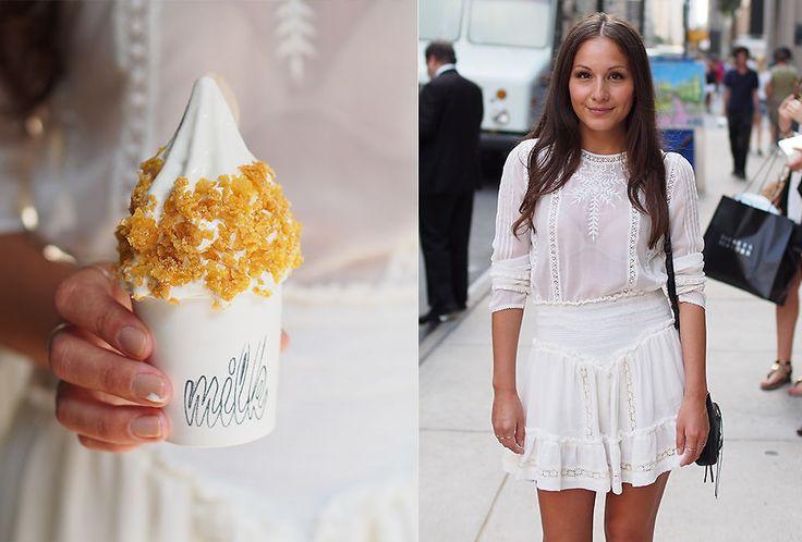 ISKREM MELLOM SLAGENE: Sonia Huanca Vold på shopping i New York, her utenfor varemagasinet Barneys. Iskremen er fra Milk Bar. Foto: Privat