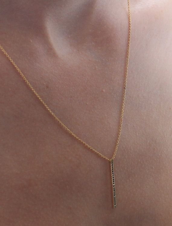 14k gold bar necklace black diamond necklace solid by springit