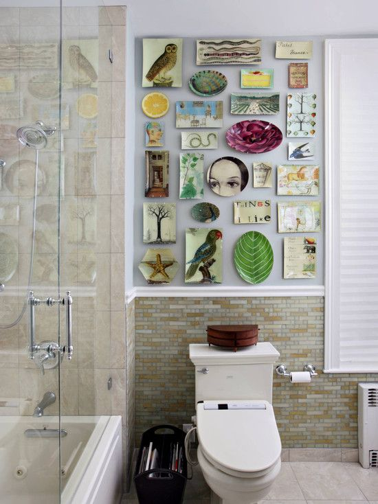 Decorating Ideas Amazing Hanging Wall Plates Combined With Glass Shower  Room And White Toilet : Fantastic Hanging Wall Plates To Beautify Your  Rooms.