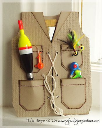 "Sinterklaas surprise: vissersjas. Gone Fishin' ""Gift"" Card...paper vest filled with a gift card & fishing supplies...great father's day or birthday gift.  My Lovely Inspirations."