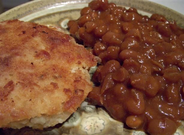"""Newfoundland Cod Cakes from Food.com: A dear """"Newfie"""" friend used to make these for me and I love them. Cut back on the oil in the skillet for a skinny version. To be really authentic serve these cod cakes with baked beans. You may use left over mashed potatoes but they will produce a softer pattie. Just boil your potatoes and mash them with nothing added."""