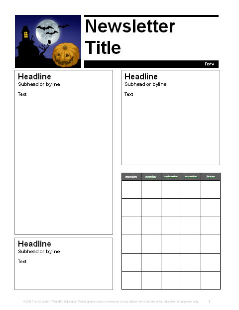 Education World: October Parent Newsletter Template