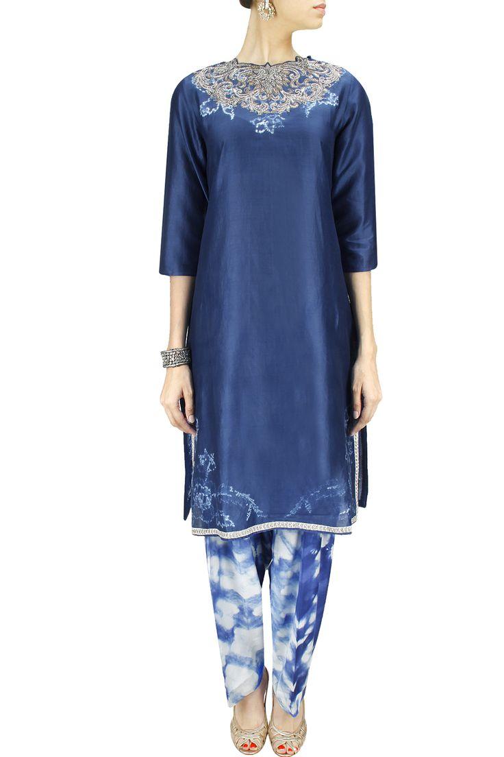 Indigo embroidered tunic with shibori salwar BY KRISHNA MEHTA. Shop now at: www.perniaspopups... #perniaspopupshop #designer #stunning #fashion #style #beautiful #happyshopping #love #updates