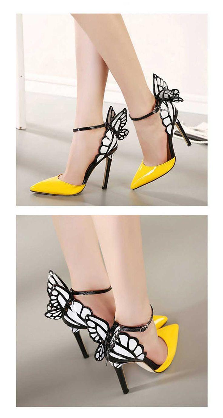 Compra Zapatos De Cuero De Tacón Alto Mujer Sexy Dise?o De La Mariposa(Amarillo) online ✓ Encuentra los mejores productos Tacones Globalomerce en Linio México ✓