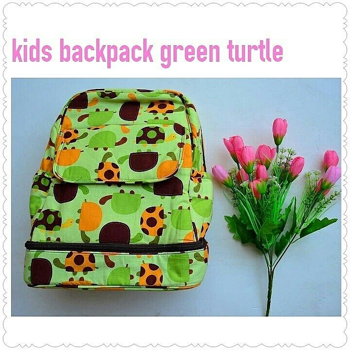 Kids backpack green turtle. Handmade by picobella  Rp 250.000