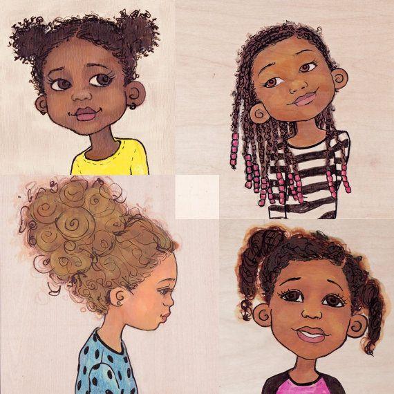 faces- Natural hair girls by @Carol Van De Maele Van De Maele Markel Emens Design Solutions by Keturah Ariel @Etsy