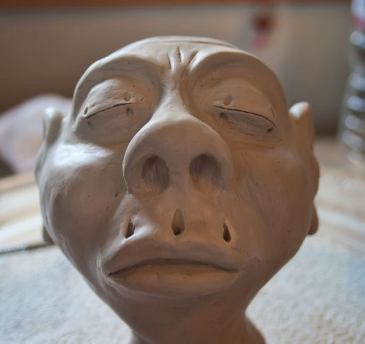 WIP sculpted shrunken head project by Halloween Forum member a_granger