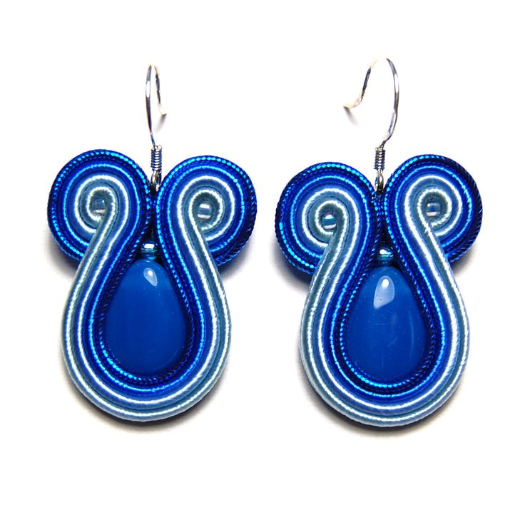Soutache earrings light deep blue jewelry handmade shop buy gift for sale orecchini pendientes oorbellen Ohrringe brincos örhängen øredobber by SoutacheFlowOn on Etsy
