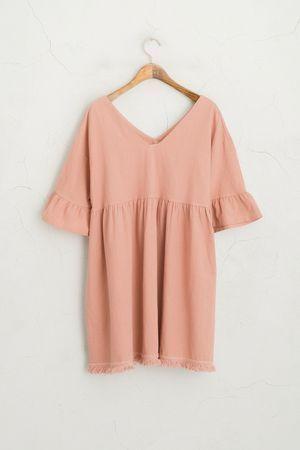 #dress #Edge #Frill #PINK #Sleeve #sommerkleider