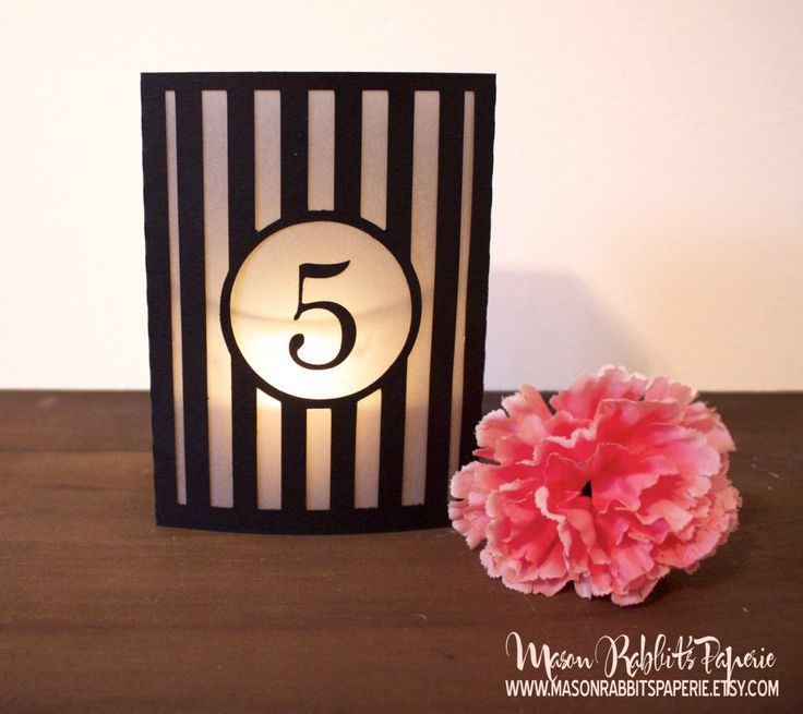 Striped Luminary Wedding Table Numbers. Wedding Table Markers, Luminaries, Wedding Decor by MasonRabbitsPaperie on Etsy https://www.etsy.com/listing/172465495/striped-luminary-wedding-table-numbers