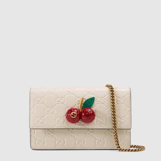 d094b53d6 Gucci Signature mini bag with cherries | Gucci | Gucci, Wallets for ...