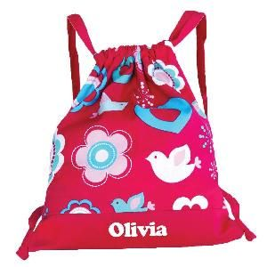 This gorgeous personalised Drawstring Backpack / Library Bag is individually printed with each child's name and makes a great lighweight back pack. It will fit books with ease and is also great on sport and swimming days.  Features * Made from polyester cotton * Unlined * Flower Blossom design * Heat pressed in Australia * Drawstring * Personalisation max 12 characters * Dimensions: 47cm H x 41cm W