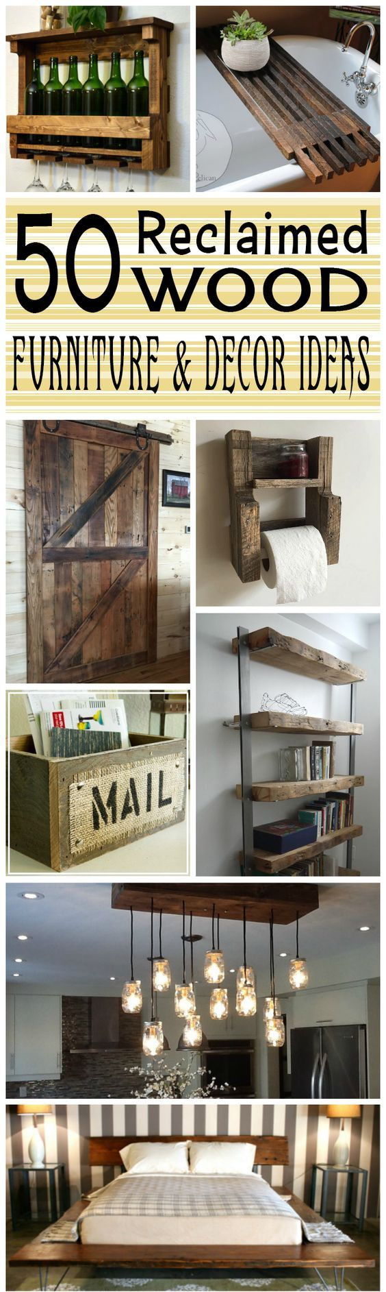 These Reclaimed Wood Furniture And Decor ideas are simply beautiful. I really need to get my DIY swag on for these projects!