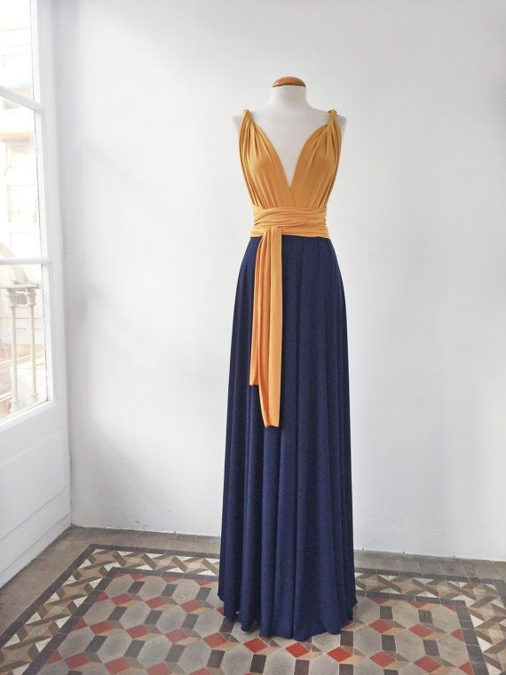 Mustard long dress mustard and navy long dress byGo for a two-toned infinity dress for your bridesmaids with the color palette of your wedding. You can choose any combination of colorsmimetik on Etsy