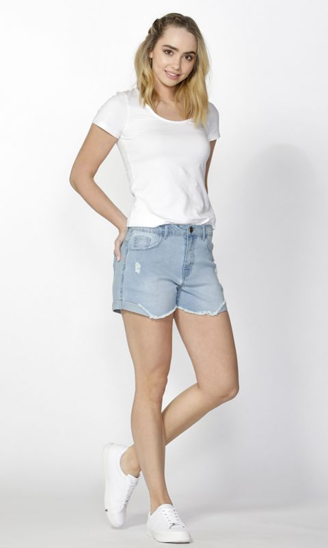Sass - Ari Shredded Denim Shorts B