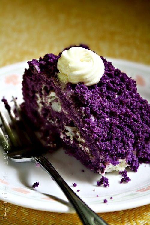 """purple """"ube"""" cake... pronounced ooh-beh, it's a purple yam found in the Philippines and very popular in desserts."""