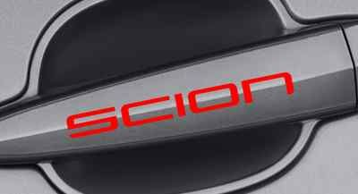 Red scion car handle decal
