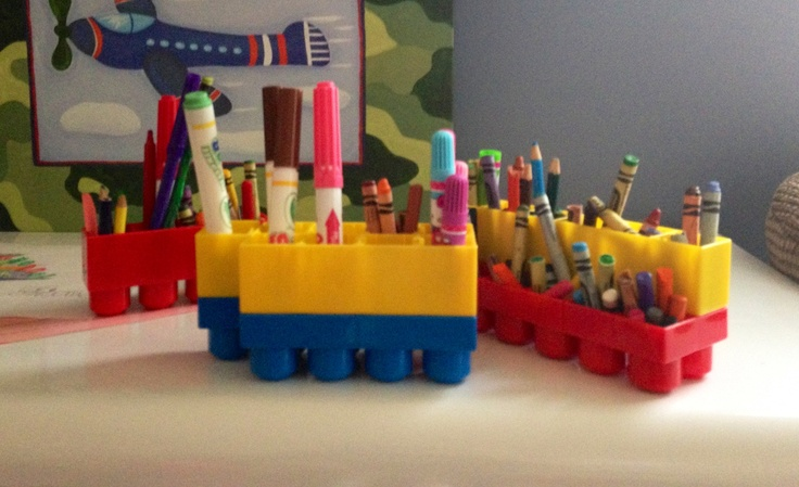 Upcycle old mega blocks and use for art supply storage!