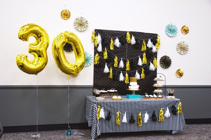 Black and Gold 30th Birthday | HELLO my name is Sara. #gold #black #30thbirthday #teal #balloon
