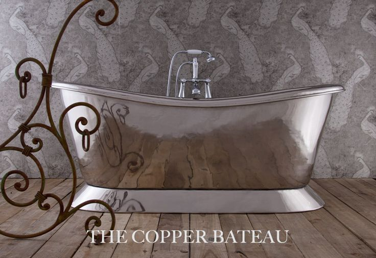 Our #Copper Bateau #bath in polished #nickel - stunning and perfect for the new #metallic #trend - #bathroom #interior #bathroomdesign #interiordesign