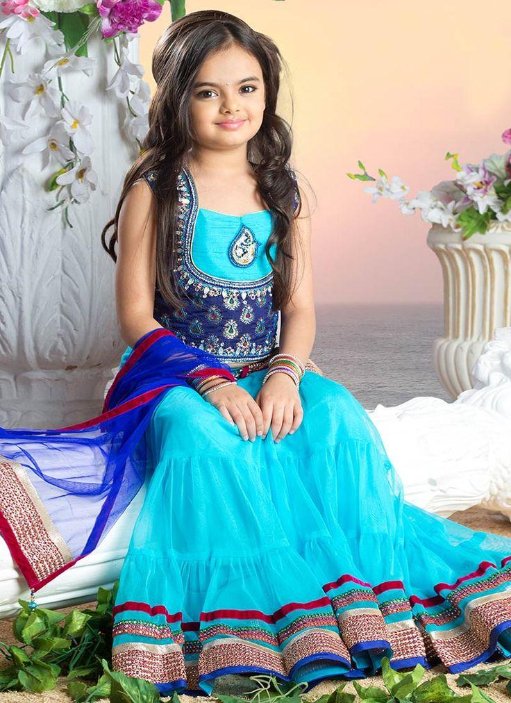 Sky Blue Ruhanika Dhawan Kids Lehenga Choli